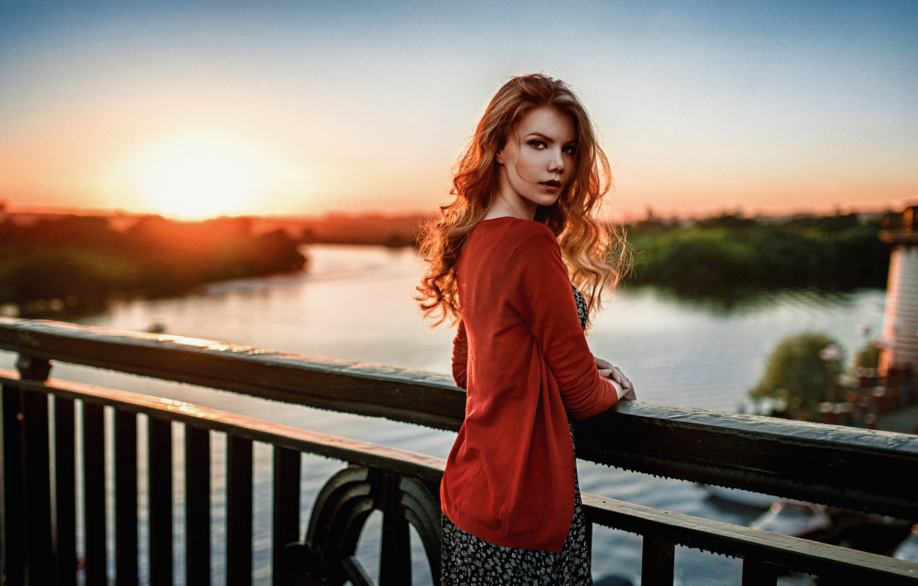 Photo wallpaper Sunset, The sun, Girl, Bridge, Look, River, Russian, Beautiful, Attractive, Antonina Bragin