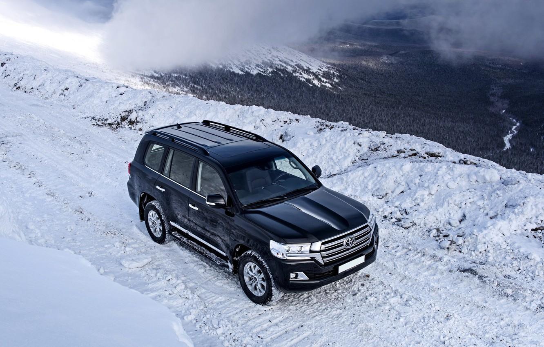 Photo wallpaper winter, mountains, Toyota, test, Land, 200, Cruiser