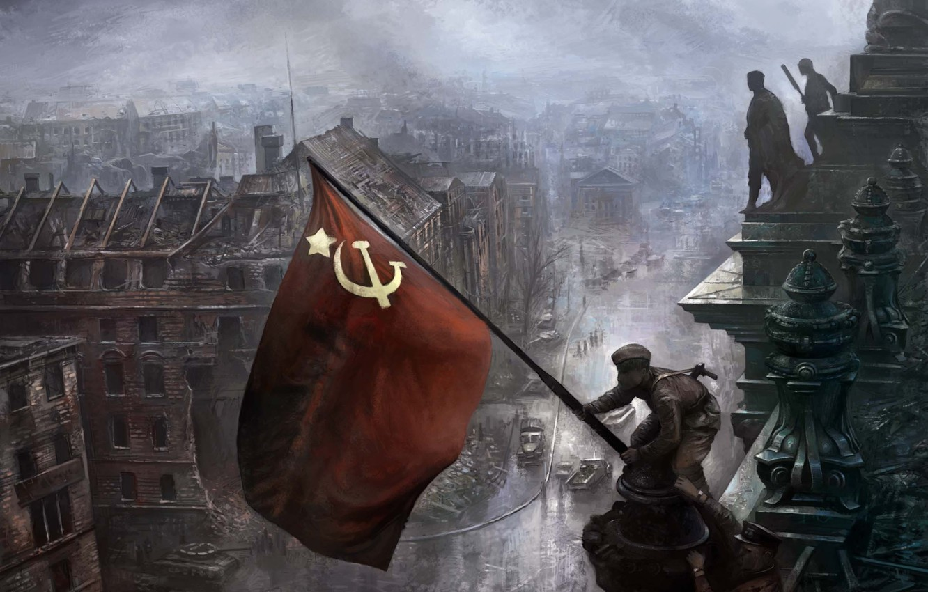 Photo wallpaper flag, May 9, victory day, soldiers