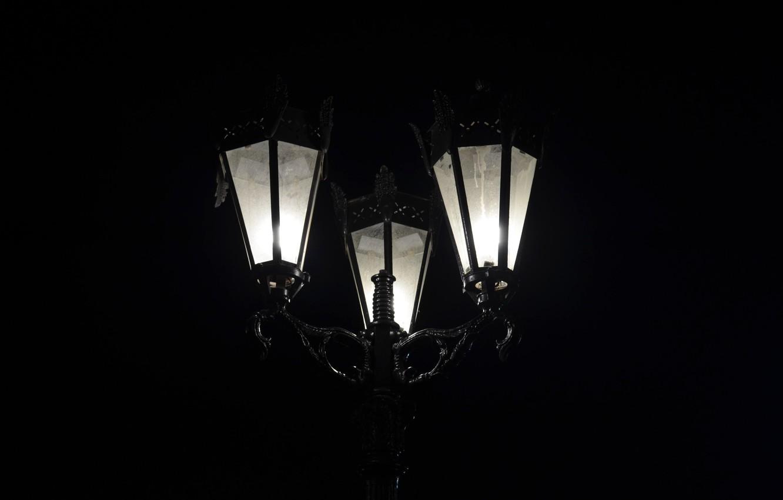 Photo wallpaper light, night, street, black, minimalism, lantern