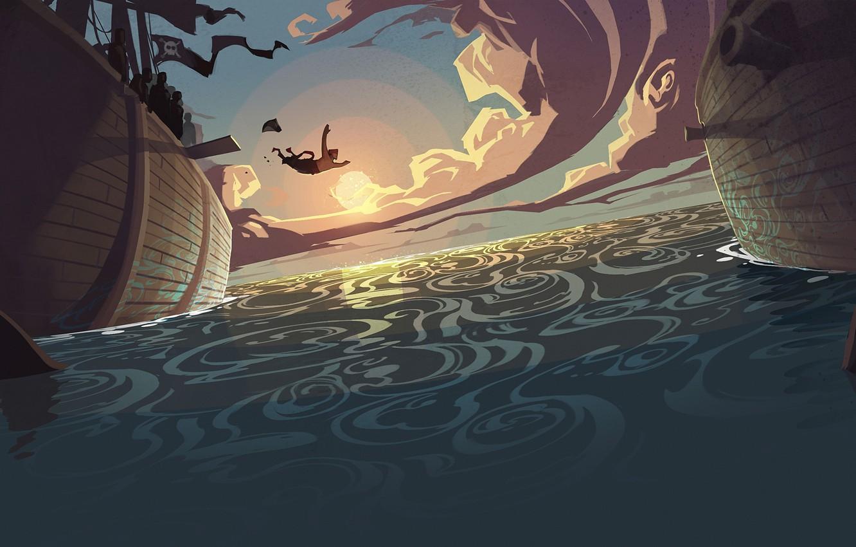 Photo wallpaper the ocean, jump, figure, ship, pirate, sharks, steam