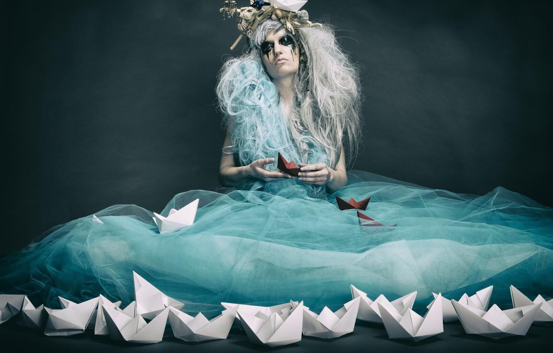 Photo wallpaper girl, pose, boats