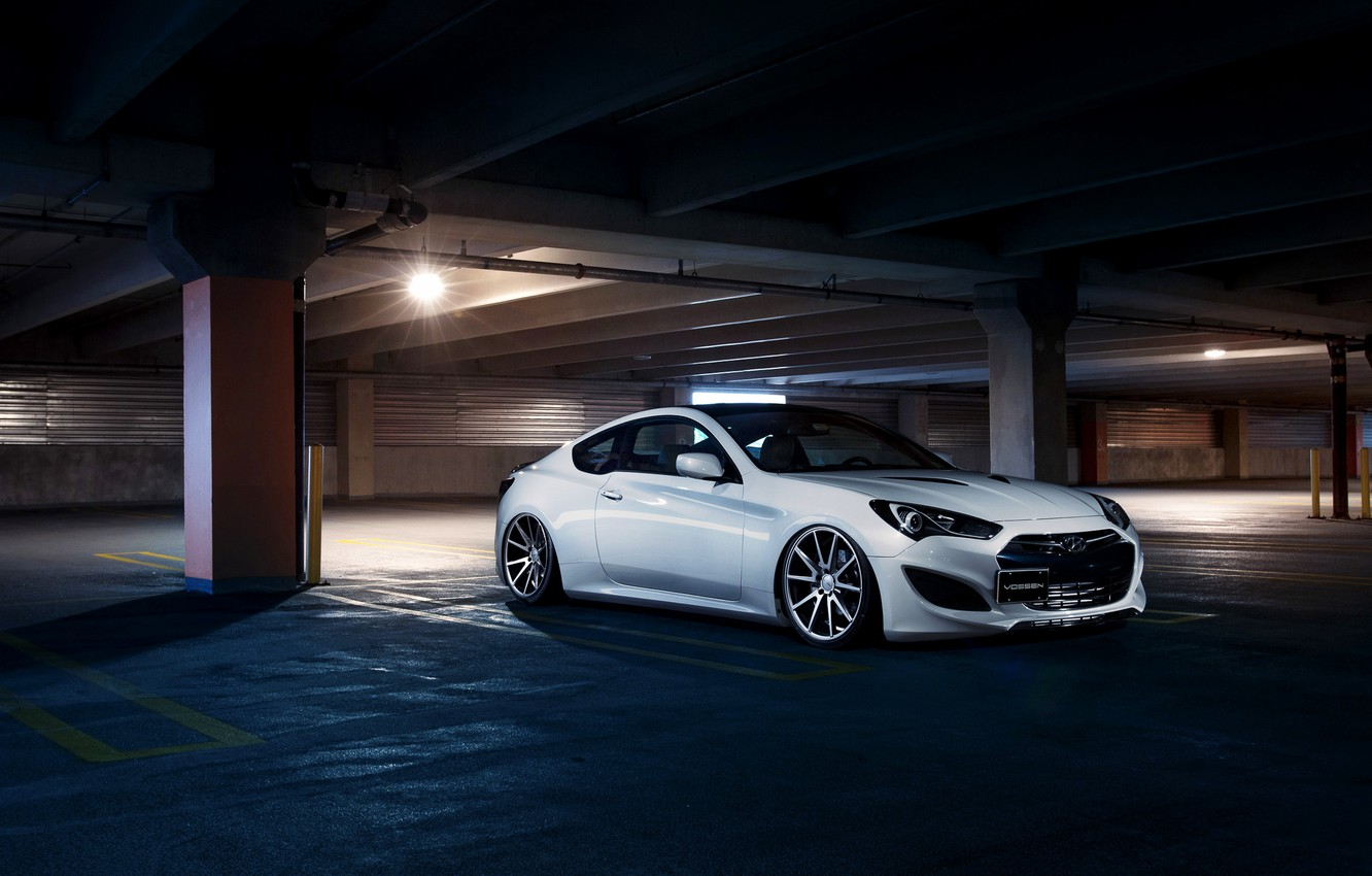 Photo wallpaper Car, Hyundai, Front, White, Parking, Vossen, Wheels, Genesis, VFS1