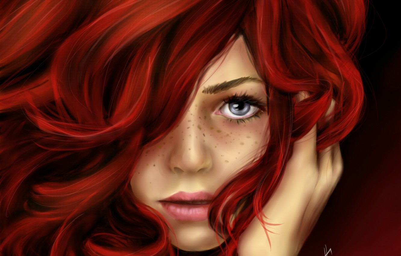 Photo wallpaper look, girl, face, hair, art, freckles, red, painting, curls