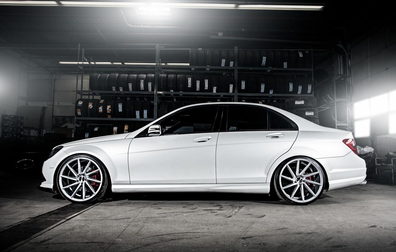 Photo wallpaper wheels, side, Mercedes Benz, AMG, C63