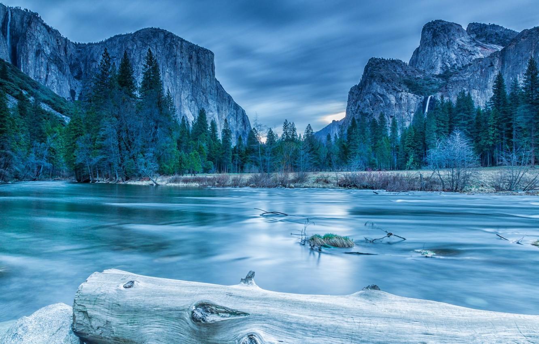 Photo wallpaper ice, winter, forest, clouds, trees, landscape, mountains, lake, rocks, spruce, log, Yosemite, National Park, Sierra …