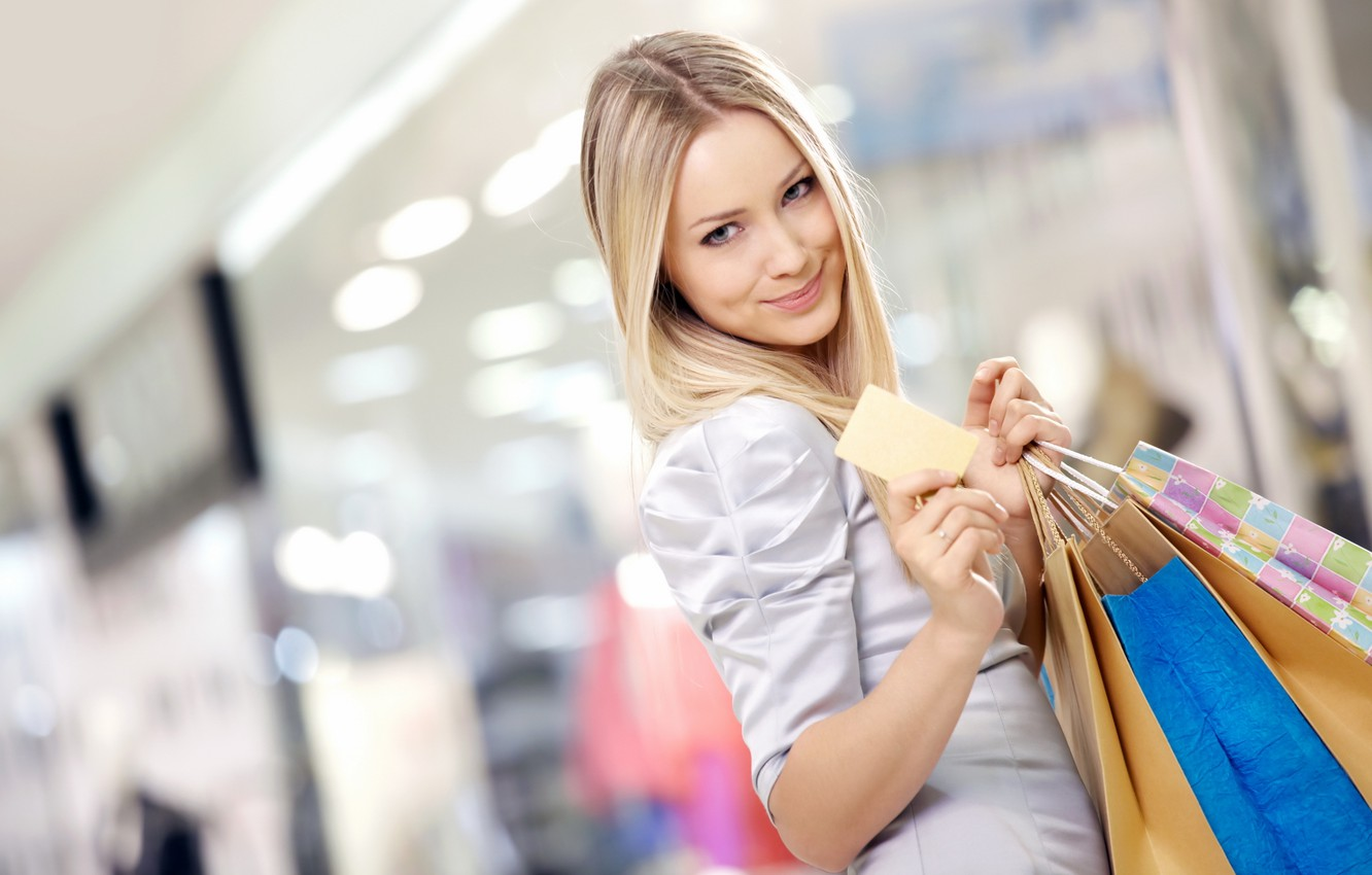 Photo wallpaper girl, joy, smile, mood, blonde, blouse, the room, shop, purchase, shopping, packages