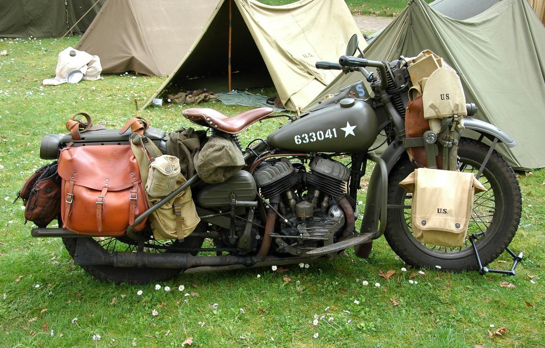 Photo wallpaper war, motorcycle, military, Harley-Davidson, tents, world, Second, times, WLA