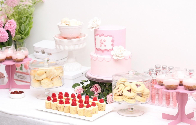 Photo wallpaper pink, birthday, roses, candy, cake, cake, dessert, cupcakes, macaron