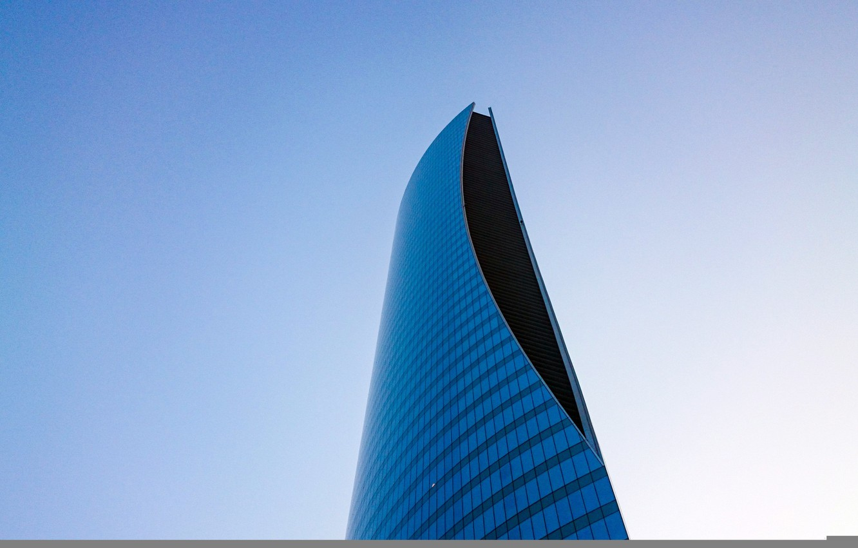Photo wallpaper glass, sky, design, skyscraper, architecture, Building, height, high