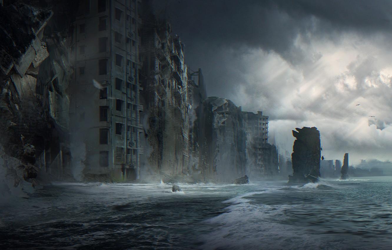 Wallpaper sea, wave, the city, fiction