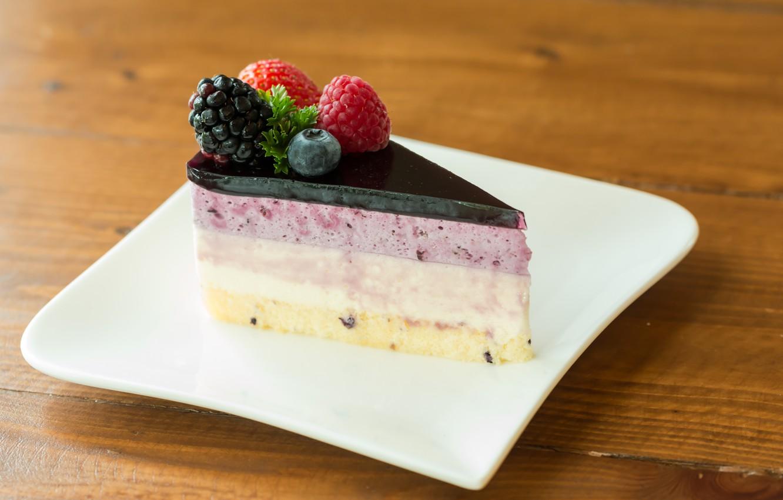 Photo wallpaper berries, cake, cake, dessert, cakes, sweet, sweet, dessert, berries, piece