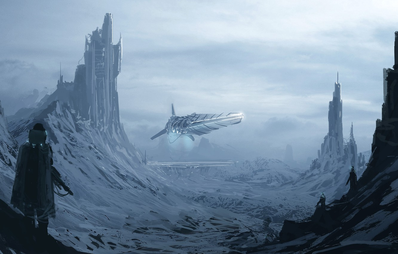 Photo wallpaper snow, mountains, fiction, people, ship, art, tower