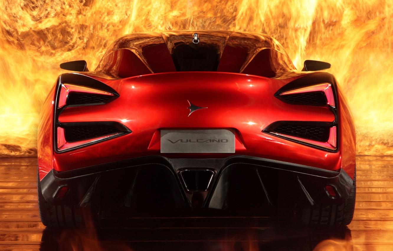 Photo wallpaper fire, supercar, rear view, Icon, Vulcano, Vulcan, Icona