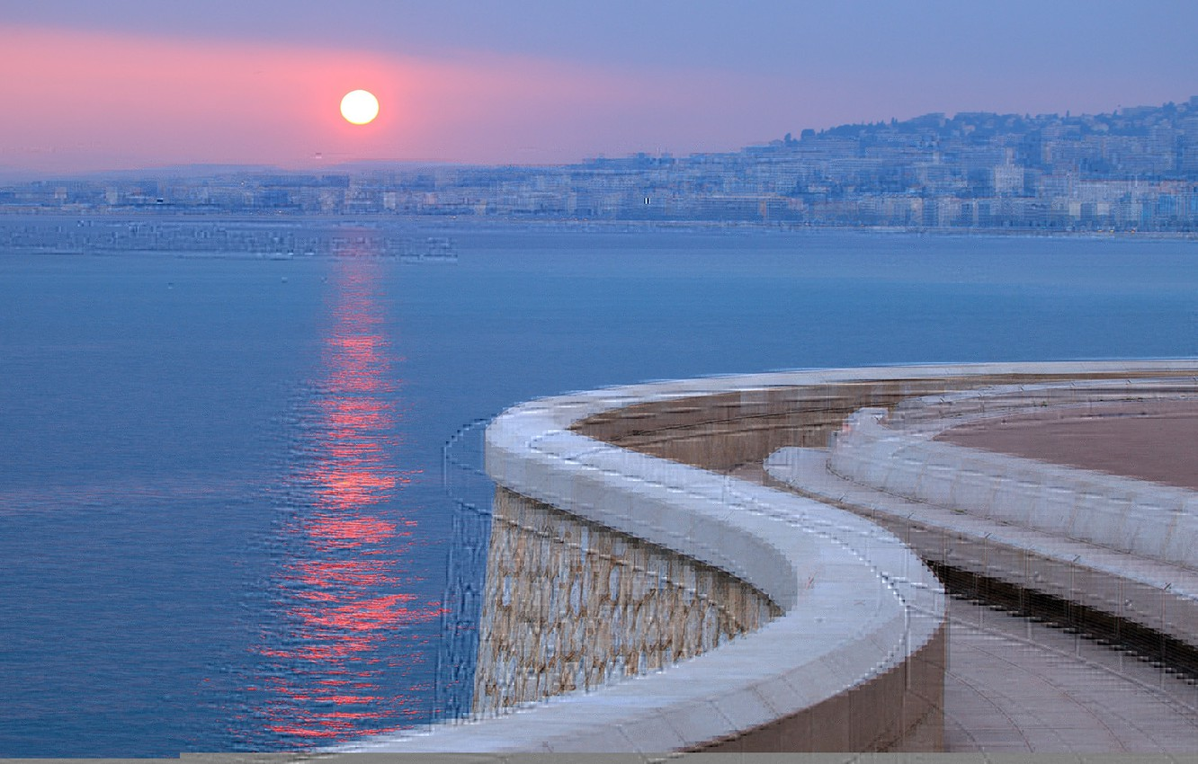 Photo wallpaper sea, sunset, the city, France, promenade, France, Cote d'azur, French Riviera, The French Riviera, Cote …