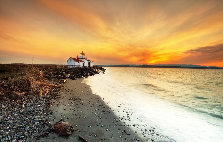 Photo wallpaper sea, sunset, shore, lighthouse