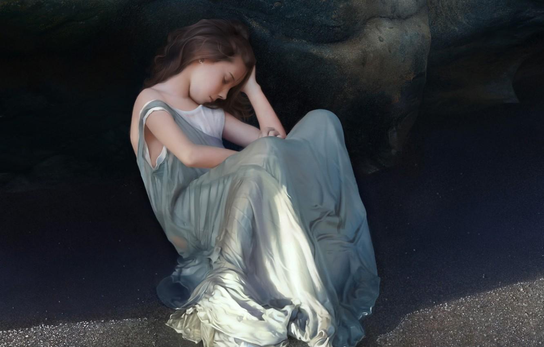 Photo wallpaper sand, girl, rock, shadow, dress, art, sleeping, girl, sitting, tenek