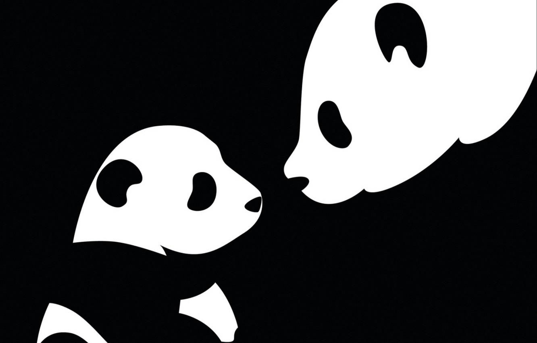 Photo wallpaper black and white, Panda, mom, child