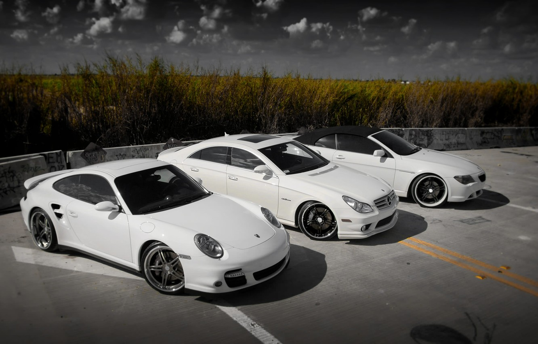 Photo wallpaper Porsche 911, BMW 6 Series Cabrio, Mercedes-Benz CLS