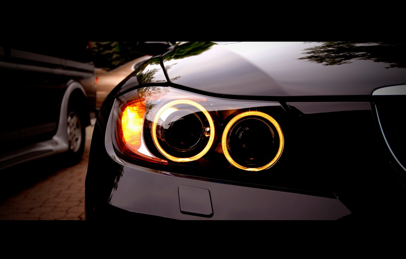 Photo wallpaper headlight, BMW, 335i, angel eyes