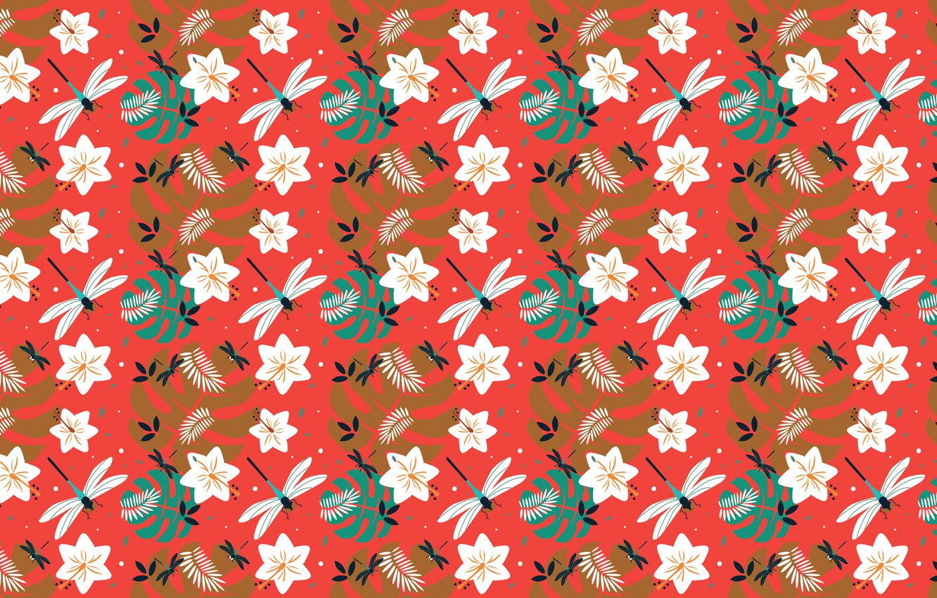 Photo wallpaper flowers, pattern, dragonfly