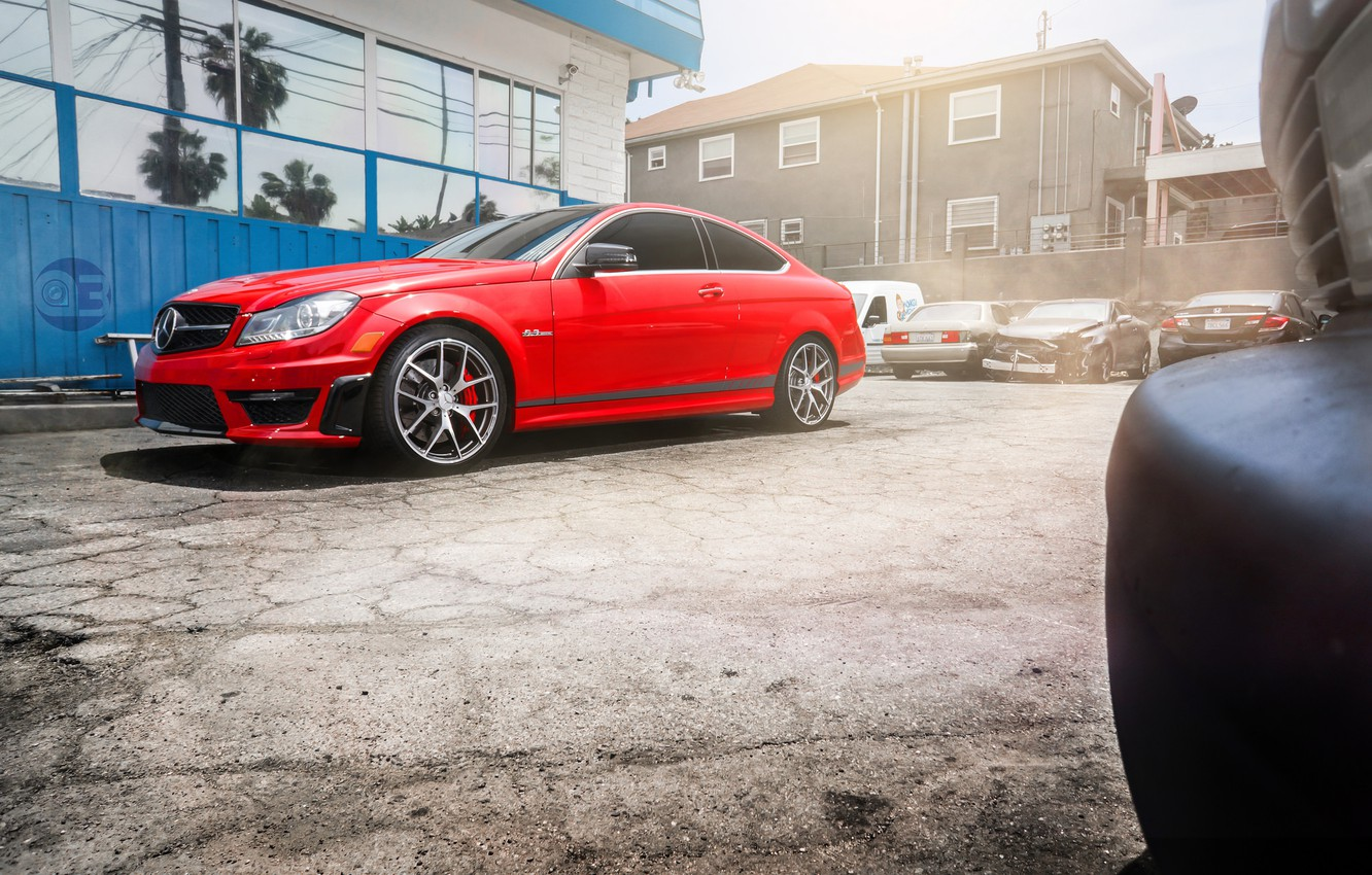Photo wallpaper red, Mercedes, red, Mercedes, AMG, C63, frontside, 507 Edition
