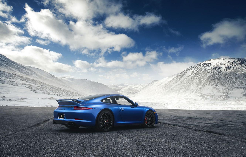 Photo wallpaper 911, Porsche, Blue, Mountain, GTS, Supercar, Rear