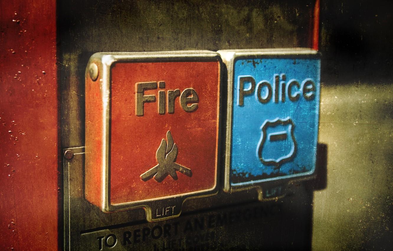 Photo wallpaper police, button, fire