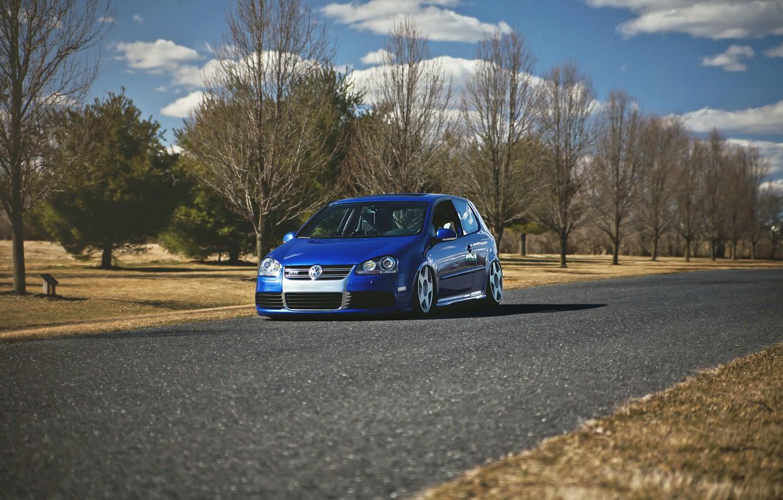 Photo wallpaper autumn, trees, blue, tuning, volkswagen, Golf, R32, golf, gti
