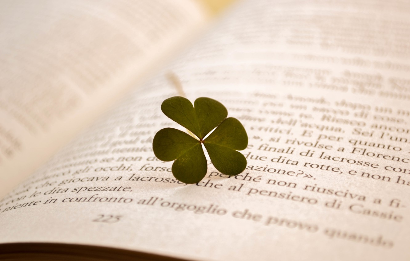 Photo wallpaper text, letters, leaf, book, clover, page