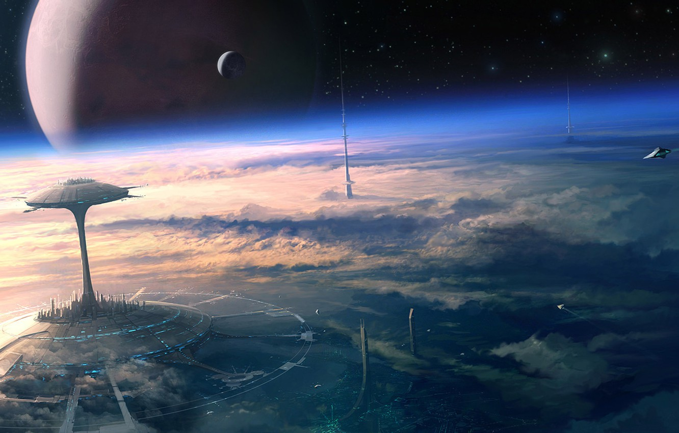 Photo wallpaper space, clouds, future, planet, satellite, stars, orbit, Art, spaceships, the city of the future