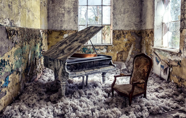 Photo wallpaper room, Windows, piano