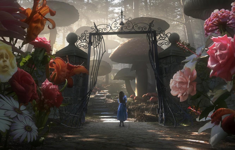 Photo wallpaper Flowers, Gate, Alice in Wonderland, Tim Burton