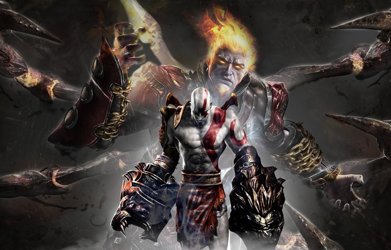 Wallpaper fire, flame, sword, armor, Kratos, God of War, lion