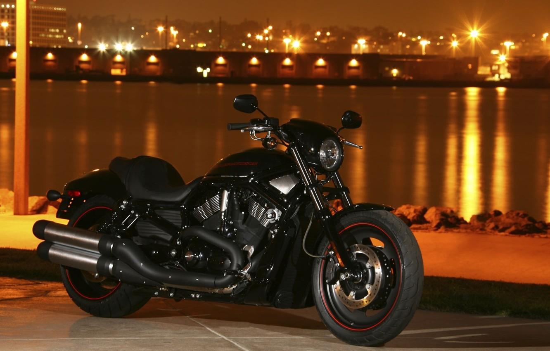 Photo wallpaper night, the city, lights, river, bike, Harley-Davidson