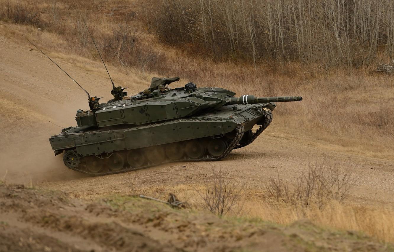 Photo wallpaper road, tank, combat, Leopard-A4M