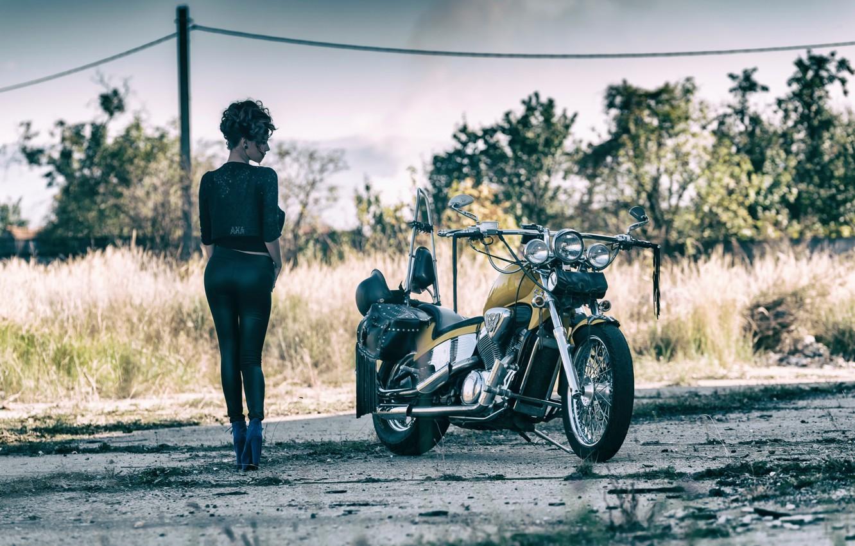 Photo wallpaper girl, view, legs, motorcycle