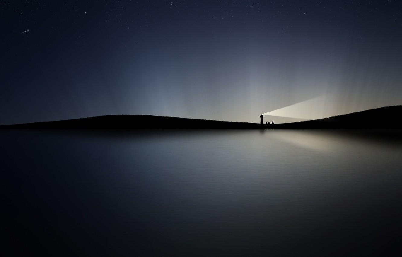 Photo wallpaper water, night, lights, lighthouse