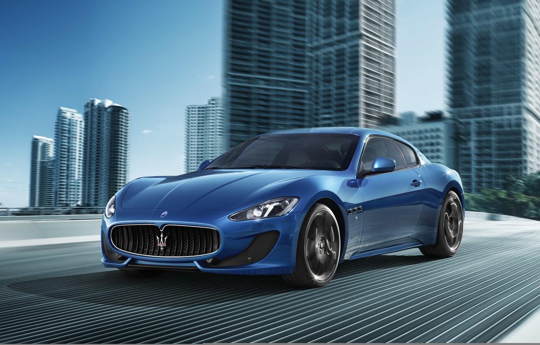 Photo wallpaper road, blue, the city, movement, sport, Maserati, supercar, Maserati, Car, Blue, Sport, Granturismo, GranTurismo