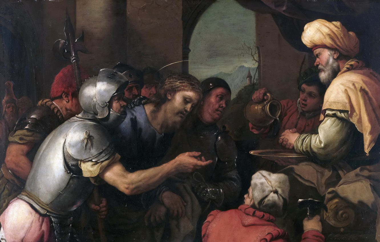 Photo wallpaper picture, religion, mythology, Luca Giordano, Pilate Washes His Hands