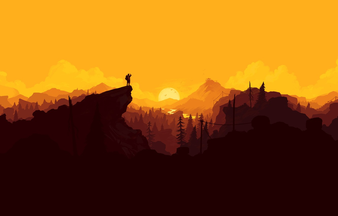 Photo wallpaper Nature, Mountains, Forest, Landscape, Game, Firewatch