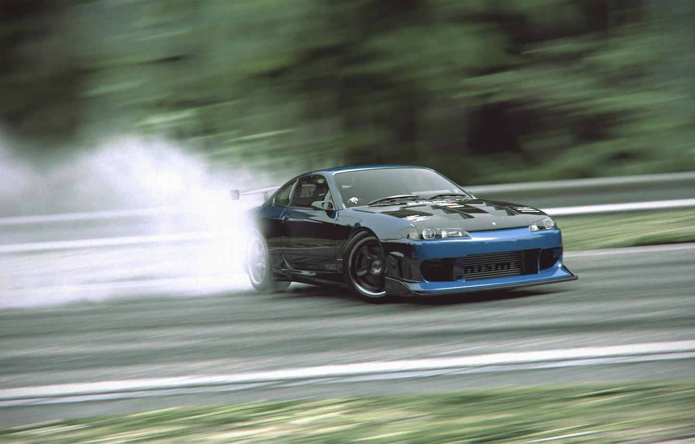 Photo wallpaper tuning, smoke, skid, nissan, drift, silvia, s15, drifting