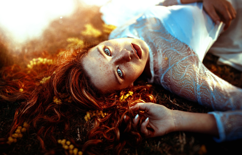 Photo wallpaper girl, freckles, Ronny Garcia, Sun light