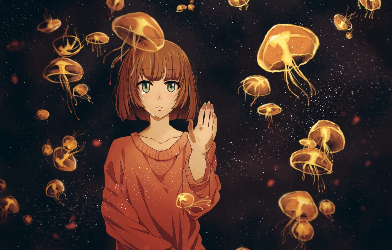 Photo wallpaper girl, anime, tears, art, jellyfish, twinmix
