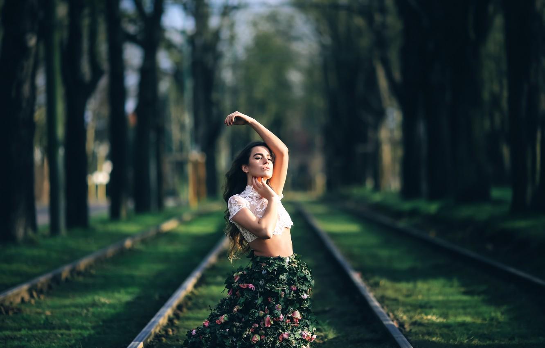 Photo wallpaper girl, skirt, roses, David Olkarny