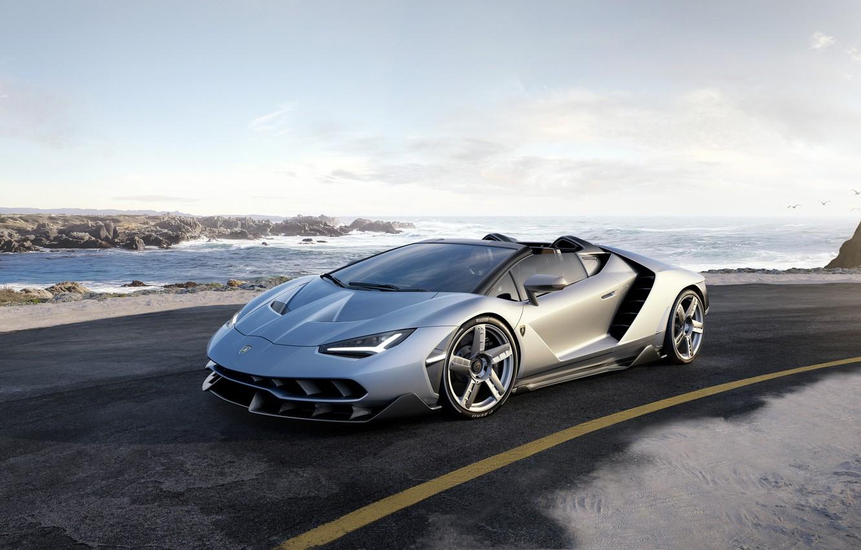 Photo wallpaper road, car, the sky, Roadster, Lamborghini, supercar, road, sky, handsome, Lamborghini, Centennial