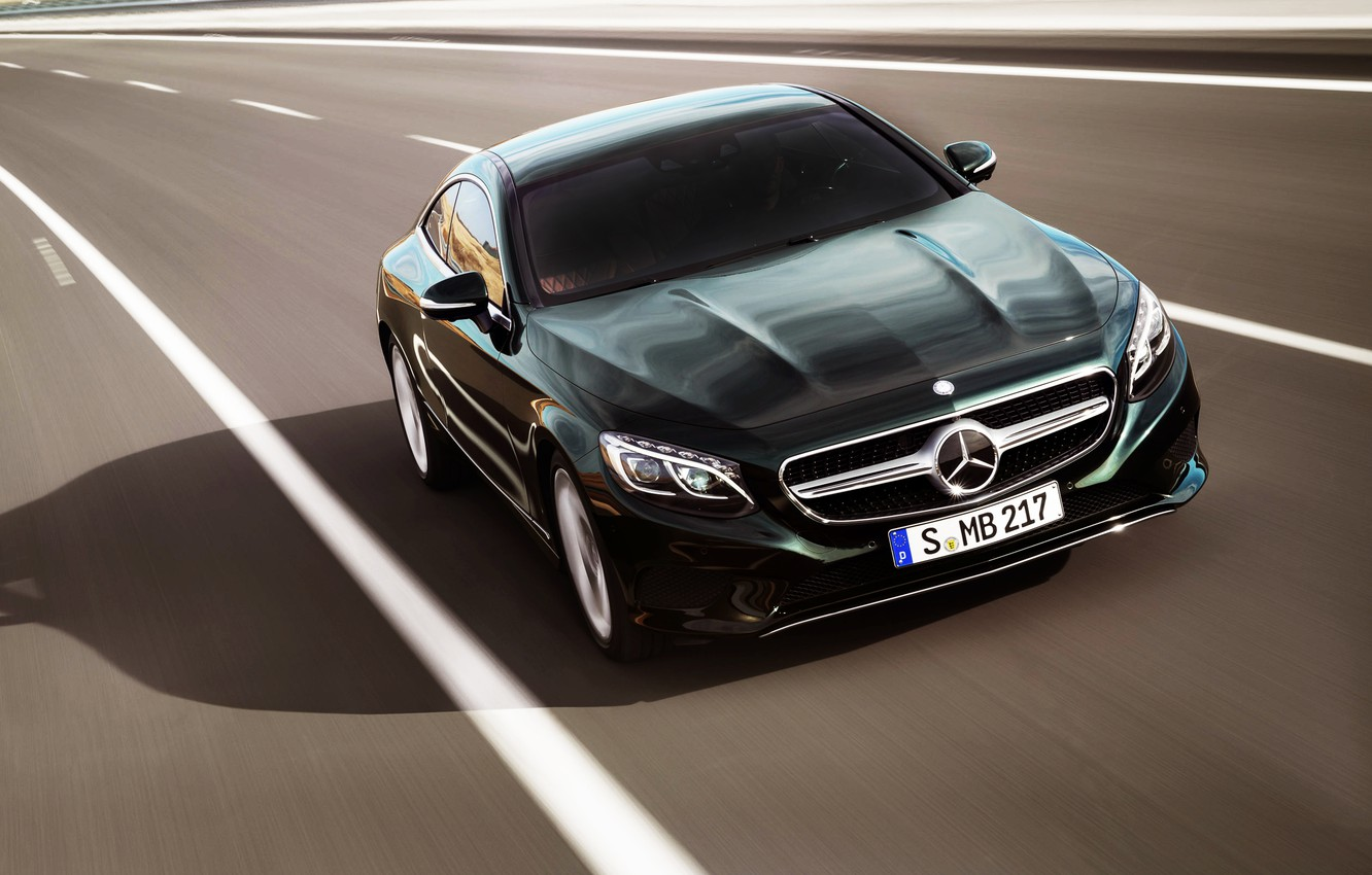 Photo wallpaper auto, Mercedes-Benz, Road, Green, Mercedes, Logo, The hood, Coupe, The front, In motion, S-Class