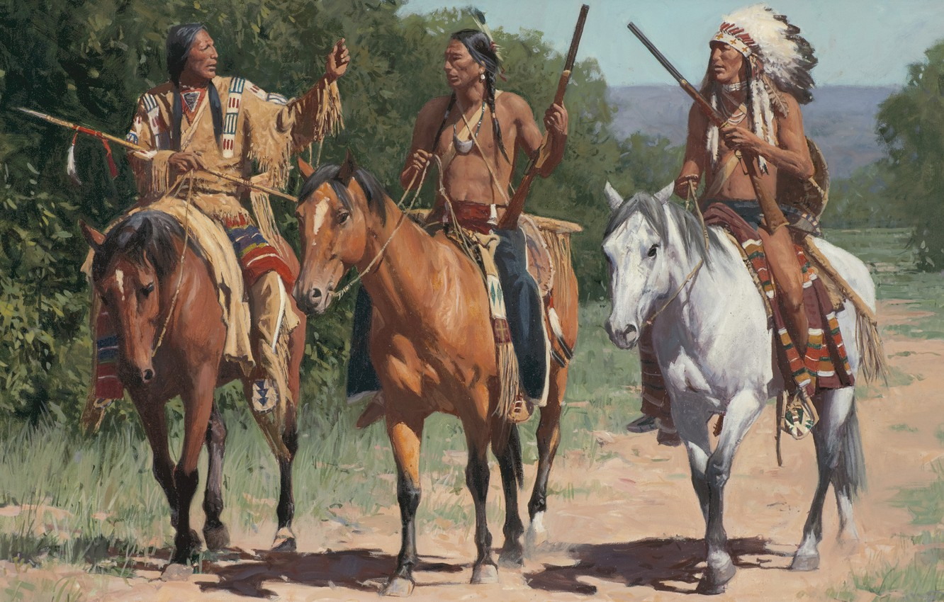 Photo wallpaper picture, painting, painting, Call To The Little Bighorn, Mann