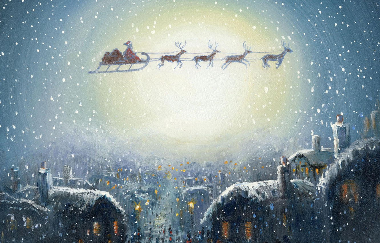 Photo wallpaper snow, the city, lights, holiday, Windows, Christmas, gifts, houses, team, sleigh, Santa Claus, deer, picture, …