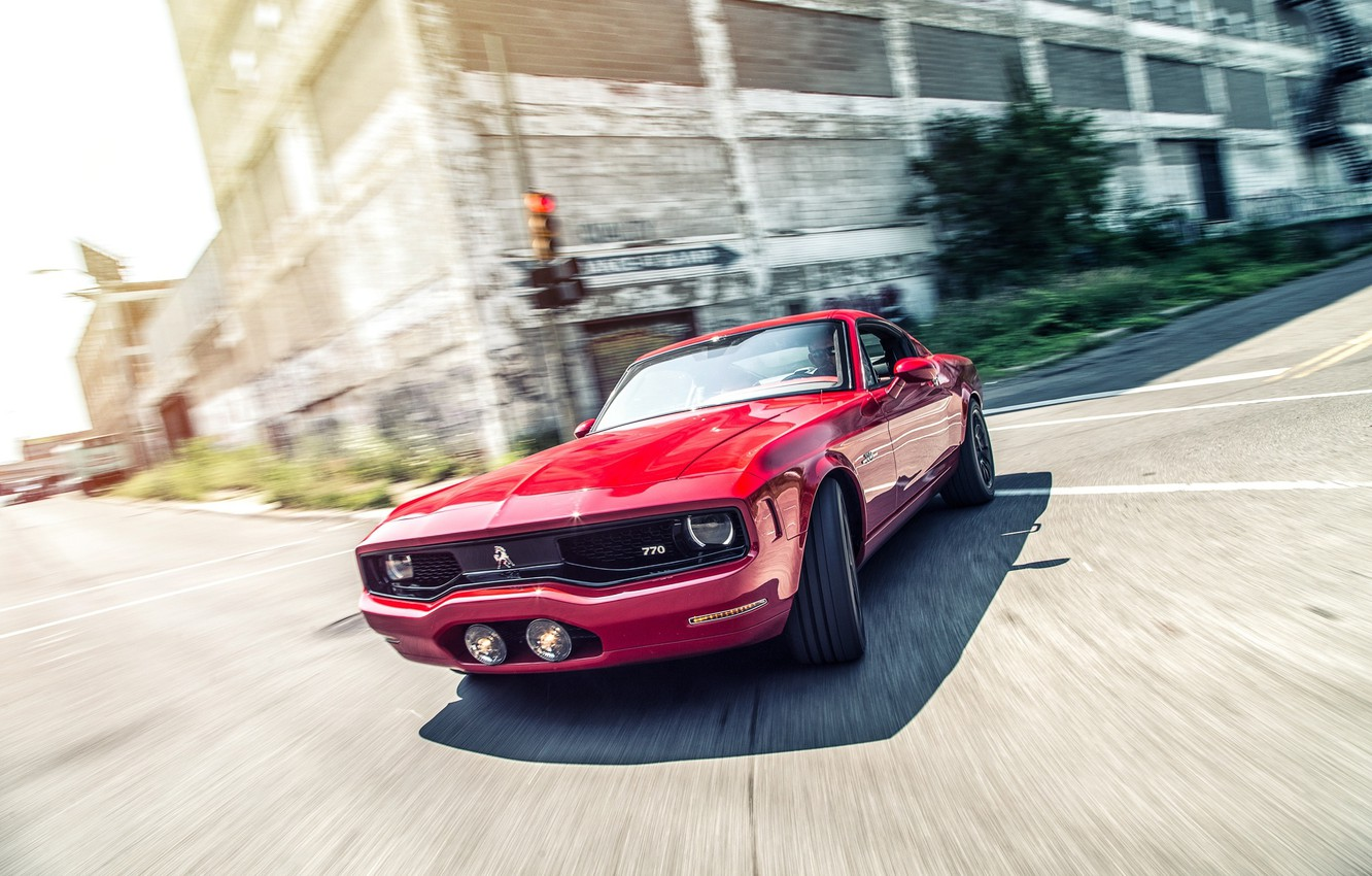 Photo wallpaper street, Mustang, Ford, turn, red, front, Equus Bass 770, CAR Magazine